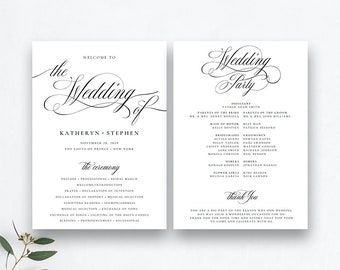 Wedding program template | Etsy