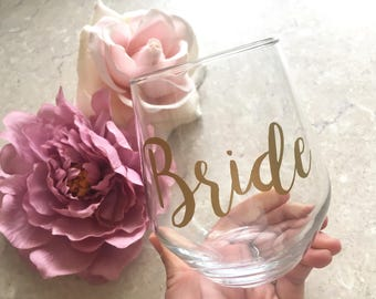 Personalised Wine Glass Bride Glass Bridesmaid Gift Stemless Wine Glass First Toast Glass