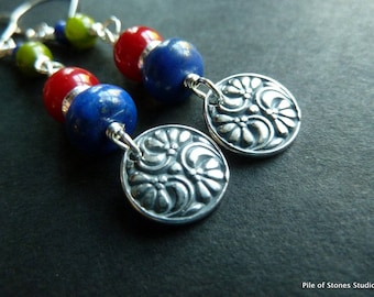 Long Colorful Earrings / Nordic Folk Art / Norwegian Color / Red Blue Green / All Sterling Silver / Symmetrical Style / *Rosemaling