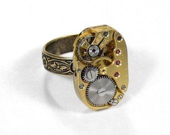 Steampunk Jewelry Ring, GOLD Art Deco Ruby Jewel Watch Movement,ORNATE Adjustable Brass Ring Unisex Men Women Gift - Jewelry by edmdesigns