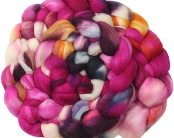 Azalea - hand-dyed Polwarth wool and silk (4 oz.) combed top roving