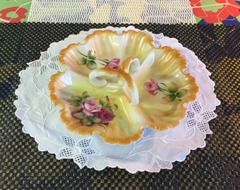 Lefton 5204 hand painted divided candy dish