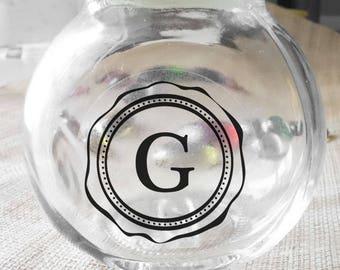 "Transparent ""Initial Letter"" Labels Stickers Seals #R4039"