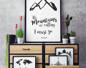 "Wallart ""The mountains are calling, i must go"", Wall art as digital Download, for mountain fans, Trend wallarat, DIY, Skiing, hicking"