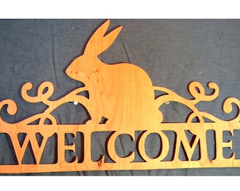 Easter Decor, Easter Gift Idea, Easter Hanger, Easter Bunny Hanger, Bunny Welcome Sign, Wood Sign, Home Decor, Rustic, Housewarming Gift,