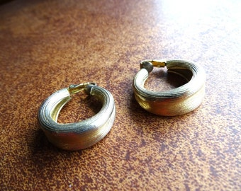 Vintage Hoop earrings marked Napier Brushed gold hoops with clip on backs
