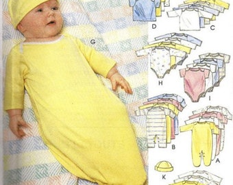 BABY LAYETTE Sewing Pattern - Infant & Preemie Booties Stocking Cap 8574