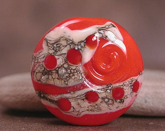 Lampwork Glass Focal Bead, Art Glass Focal, Bright Orange, Divine Spark Designs, SRA