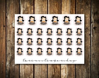 No Spend - Cute Brunette Girl - Functional Character Stickers