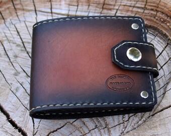 Brown Leather Wallet / Sunburst Leather Bifold Wallet / Snap Wallet / Biker Wallet / Mens Gift / Engraved Wallet / Vintage Style Unique