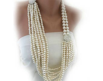 Chunky Pearl Necklace ,3 Different Style Necklace, bold Layered Ivory Pearl Necklace