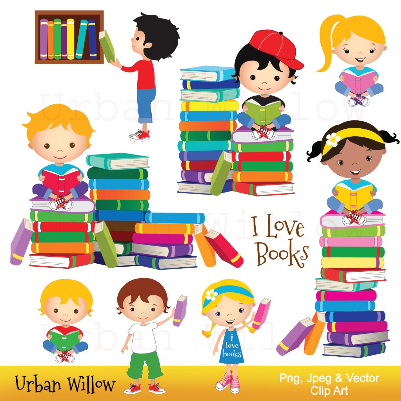 clip art kids reading books graphics school kid cute rh etsy com kids reading clipart children's reading clipart