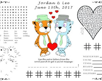 Wedding Activity PDF. Printable Placemat, Varying Sizes. Customize Your Names and Date. You Choose Genders.