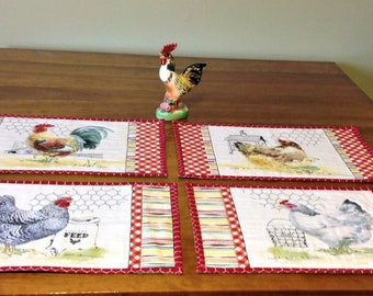 Placemats: Rooster, Hens, and Chicks....Oh My!  Set of 4, Reversible, Table Linens