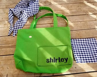 Vintage Shirley Monogrammed Canvas Tote Bag with Gingham Scarf and Large Coin Purse