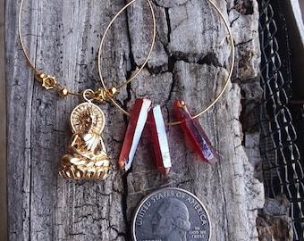 Red aura quartz  buddha hoops