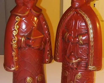 Candle Holders Two Vintage Red Gold Wise Men Porcelain Candle Holder Holidays Home Decor Gift