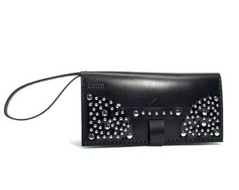 Black leather wallet. Hand crafted.