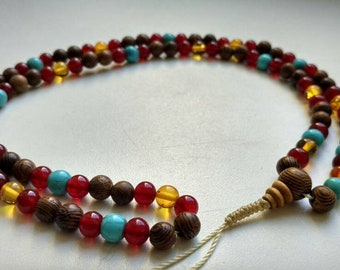 108 bead mala for meditation - wood, amber and stone