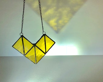 Geometric Necklace, Stain Glass Necklace, Window Hanging, Suncatcher Geometric, Stained Glass Home Decor, Stained Glass Art, Yellow Necklace