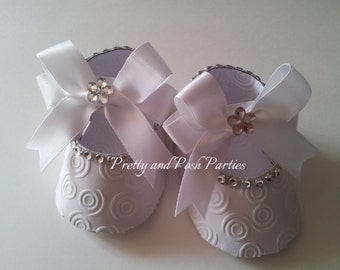 10 Adorable Embossed Rhinestone Paper Shoe Favor Boxes