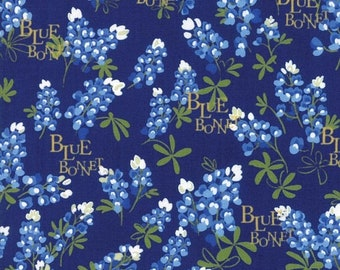 20% off thru Apr 24th BLUEBONNET PATCH Texas Wildflowers on navy blue Moda fabric  by the yard quilt cotton  bluebonnets WORDS 33311-15