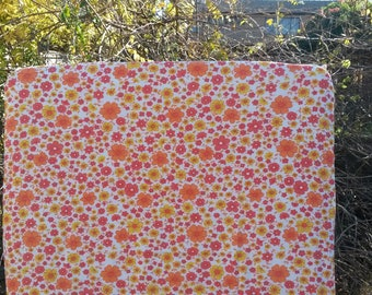 Vintage Red, Yellow and Orange Floral Fitted Cot Sheet, Cot Sheets, Fitted Cot Sheets, Crib Sheet