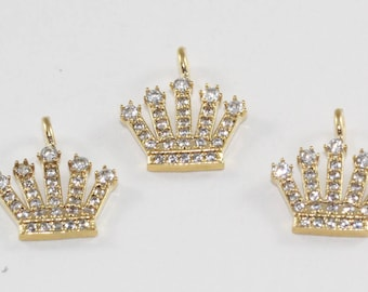 3 Pcs Findings, 17x13mm, Gold Plated, Micro Pave Zirconia, King Crown, Bracelet Connectors, CZ Space Beads,  MMT108