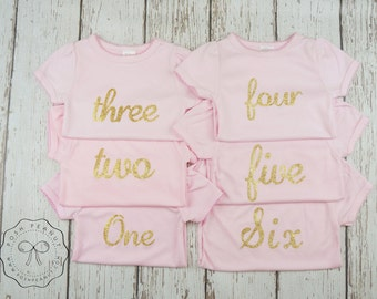 Gold baby shirt- Girls Gold Birthday shirt- Glitter GOld shirt- ONE- custom birthday shirt- first birthday shirt- bodysuit- 2nd birthday