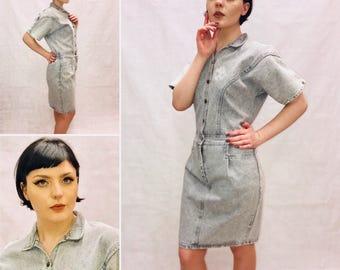 Vintage Denim Dress, Nautical, 80s Dress. Sailor Dress. Size 10
