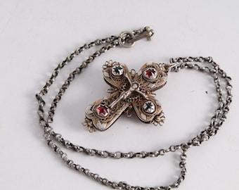 Rare Antique Christianity Orthodox Church Silver Filigree Cross Crucifix Pendant