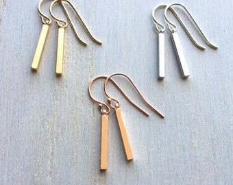 Bar Earrings, Delicate Bar Earrings, Gold Bar Earrings, Rose Gold Bar Earrings, Silver Bar Earrings