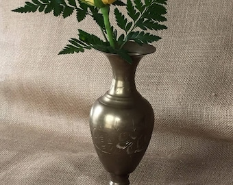 "Vintage Engraved Brass Vase - 8.5"" tall"