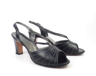 Amano Heel Shoes Vintage 1970s Black Heels Amano Nordstrom Women's size 6 N