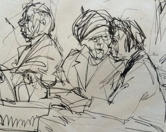 An Odd Grouping; really nice clear Pen & Ink Drawing, a print on acid free paper.  Good drawing.
