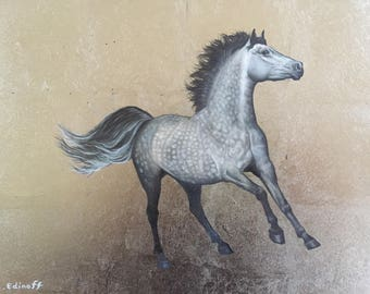 Dapple Grey Horse original oil painting on Caplain Gold leaf Gilded panel