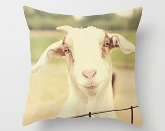Throw Pillow Cover Happy Goat White Brown Cream Green Country Rustic Farmhouse Decor Photo Case Home Bedroom Livingroom Couch Bed