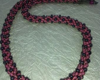 Beaded Kumihimo Necklace Raspberry with Black Polka Dots
