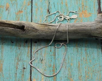 Sterling Silver Box Chain, Everyday, Long Layering Chain; 16, 18, 20, 24, 30 or 36-Inch Lengths
