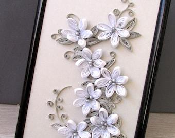 Quillling 3D Flower Wall Art, Framed Flower Art, Paper Quilling Art, Flower Wall Hanging, Quilling Home Decoration