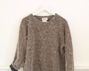 vintage 90s FUZZY TEXTURED neutral tunic sweater
