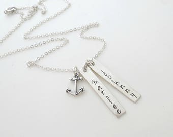 Personalized Bar Necklace - Custom Anchor Necklace - Mothers Necklace - Couples - Best Friends - Name Necklace - Son - Daughter -Anniversary