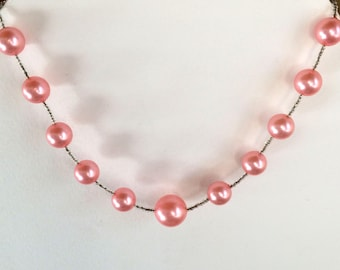 Necklace faux pink pearls, vintage