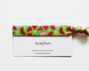 Watermelon Pink Green Hair Tie