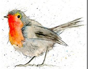 Robin Card - Bird Greeting Card, Blank Inside, Garden Bird Card