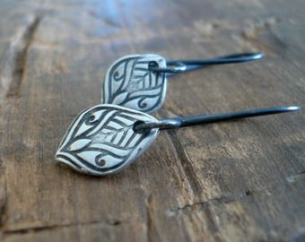 Noceur Dangle Earrings - Handmade. Oxidized fine and sterling silver dangle earrings