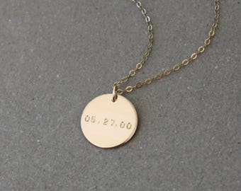 Date Necklace, Personalized Necklace, Gift for Mom, Personalized Jewelry, New Mom Gift, Wedding Date, Anniversary Gift