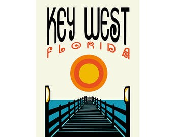 Key West, Florida - Colorful Graphic Poster - 12x18 inches - 2 Colors