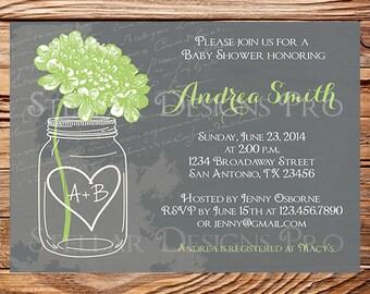 Baby shower invitation, Gray Hydrangea baby shower Invitation, yellow, green, pink, green, hydrangea shower invitation, 1134