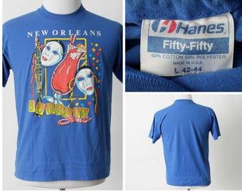 Vintage New Orleans T Shirt Tee Bourbon Street Mardi Gras - 80s Retro Medium M Carnival French Quarter Made in USA